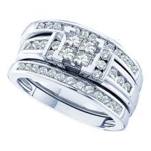 14K White Gold Jewelry 1.0 ctw Diamond Trio Ring Set - ID#H120Z1-WGD44404