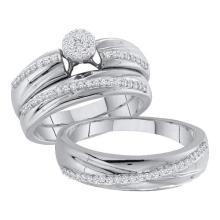 14K White Gold Jewelry 0.40 ctw Diamond Trio Ring Set - ID#Z61M2-WGD50409