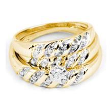14K Yellow Gold Jewelry 0.07 ctw Diamond Trio Ring Set - ID#M42Y2-WGD18757