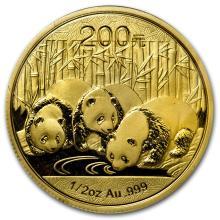 One 2013 China 1/2 oz Gold Panda BU (Sealed) - WJA72452