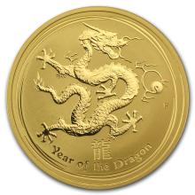 One 2012 1 oz Gold Lunar Year of the Dragon BU (Series II) - WJA63857
