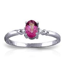 Genuine 0.46 ctw Pink Topaz & Diamond Ring Jewelry 14KT White Gold  - ID#M17L4-WGG1295
