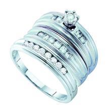 14K White Gold Jewelry 0.54 ctw Diamond Trio Ring Set - ID#Z66M2-WGD54028