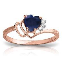 Genuine 1.02 ctw Sapphire & Diamond Ring Jewelry 14KT Rose Gold - GG#4321