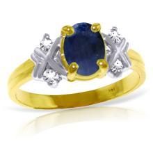 Genuine 1.47 ctw Sapphire & Diamond Ring Jewelry 14KT Yellow Gold - GG#4599