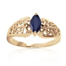 Genuine 0.2 ctw Sapphire Ring Jewelry 14KT Yellow Gold - GG#4620