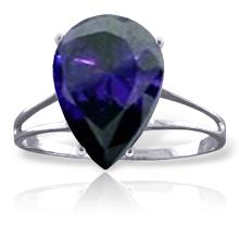 Genuine 4.65 ctw Sapphire Ring Jewelry 14KT White Gold - GG#4305
