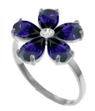 Genuine 2.22 ctw Sapphire & Diamond Ring Jewelry 14KT White Gold - GG#3419