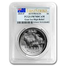 One 2015 Australia 1 oz Silver Lunar Goat PR-70 PCGS (FS, HR)