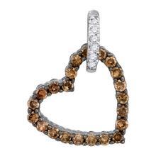 10K White Gold Jewelry 0.50 ctw White Diamond & Cognac Diamond Pendant - ID#V14F5-WGD85873