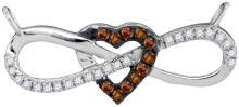 10K White Gold Jewelry 0.15 ctw White Diamond & Cognac Diamond Necklace - ID#Z13P3-WGD95979