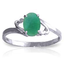 Genuine 0.75 ctw Emerald Ring Jewelry 14KT White Gold - GG#1854