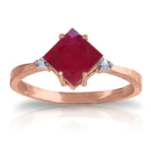 Genuine 1.46 ctw Ruby & Diamond Ring Jewelry 14KT Rose Gold - GG#4352