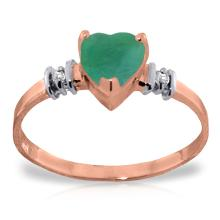 Genuine 1.03 ctw Emerald & Diamond Ring Jewelry 14KT Rose Gold - GG#4393