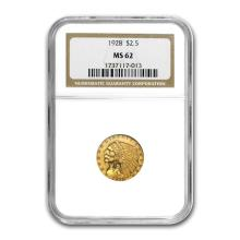 One $2.50 Indian Gold Quarter Eagle MS-62 NGC/PCGS (Random Year)