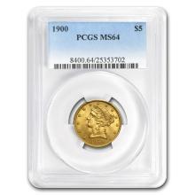 One $5 Liberty Gold Half Eagle MS-64 PCGS (Random Year)