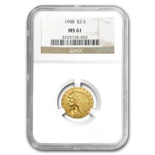 One $2.50 Indian Gold Quarter Eagle MS-61 NGC/PCGS (Random Year)