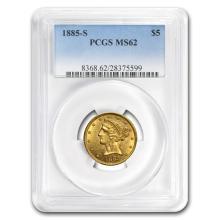 One $5 Liberty Gold Half Eagle MS-62 PCGS (Random Year)