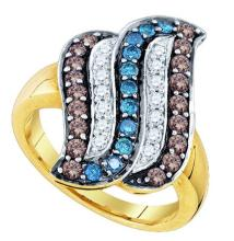 10K Yellow Gold Jewelry 0.91 ctw Multi-color Diamond Ladies Ring - ID#N39H7-WGD76119