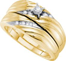 14K Yellow Gold Jewelry 0.10 ctw Diamond Bridal Ring Set - ID#A45K7-WGD53216