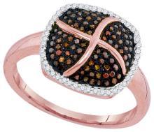 10K Rose Gold Jewelry 0.33 ctw White Diamond & Cognac Diamond Ladies Ring - ID#P32V4-WGD93199