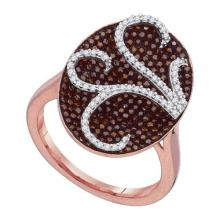 10K Rose Gold Jewelry 0.75 ctw White Diamond & Cognac Diamond Ladies Ring - ID#J63R7-WGD88325