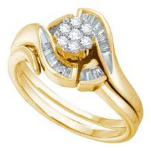 14K Yellow Gold Jewelry 0.33 ctw Diamond Bridal Ring Set - ID#J42X2-WGD14184