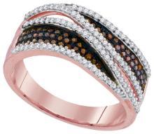 10K Rose Gold Jewelry 0.50 ctw White Diamond & Cognac Diamond Ladies Ring - ID#W37K2-WGD93207