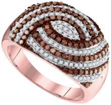 10K Rose Gold Jewelry 0.75 ctw White Diamond & Cognac Diamond Ladies Ring - ID#P42V2-WGD95138