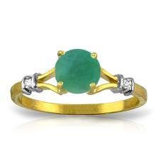 Genuine 0.62 ctw Emerald & Diamond Ring Jewelry 14KT Yellow Gold - GG#4403