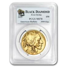 One 2015 1 oz Gold Buffalo MS-70 PCGS (FS, Black Diamond) - WJA86093