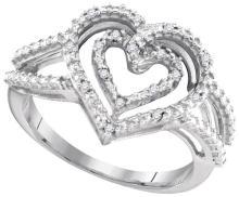 Fine Silver Jewelry 0.05 ctw Diamond Ladies Ring - GD#94522 - REF#R3F1