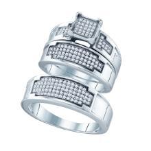 Fine Silver Jewelry 0.47 ctw Diamond Trio Ring Set - GD#63064 - REF#Z21W6