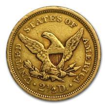 One $2.50 Liberty Gold Quarter Eagle VF (Random Years) - WJA86048
