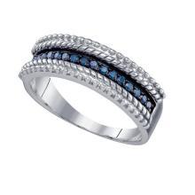 Fine Silver Jewelry 0.23 ctw White Diamond & Blue Diamond Ladies Ring - GD#65377 - REF#Z7W3