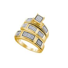 Fine Silver Jewelry 0.29 ctw Diamond Trio Ring Set - GD#63042 - REF#R14F5