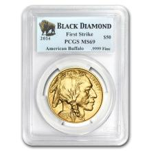 One 2014 1 oz Gold Buffalo MS-69 PCGS (FS, Black Diamond) - WJA79361