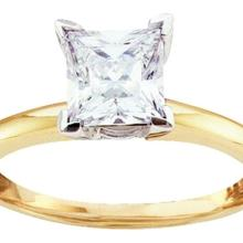 14K White Gold Jewelry 0.25 ctw Diamond Solitaire Ring - GD#12657 - REF#R32F4