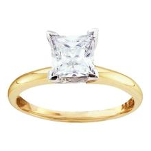 14K 2Tone Gold Jewelry 1.0 ctw Diamond Solitaire Ring - GD#12742 - REF#R204F1