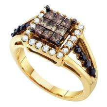 14K Yellow Gold Jewelry 1.0 ctw White Diamond & Cognac Diamond Ladies Ring - ID#K60V1-WGD53481