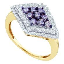 10K Yellow Gold Jewelry 0.80 ctw White Diamond & Black Diamond Ladies Ring - ID#M26J4-WGD58882
