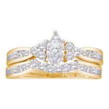 14K Yellow Gold Jewelry 0.50 ctw Diamond Bridal Ring Set - ID#H51Z6-WGD23077