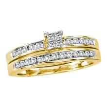 14K Yellow Gold Jewelry 0.50 ctw Diamond Bridal Ring Set - ID#M57Y6-WGD22578