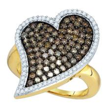 10K Yellow Gold Jewelry 1.5 ctw White Diamond & Cognac Diamond Ladies Ring - ID#A57N6-WGD73430