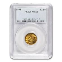One $2.50 Liberty Gold Quarter Eagle MS-61 NGC/PCGS (Random Year)