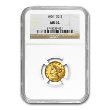 One $2.50 Liberty Gold Quarter Eagle MS-62 NGC/PCGS (Random Year)