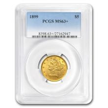 One $5 Liberty Gold Half Eagle MS-63+ PCGS (Random Year)