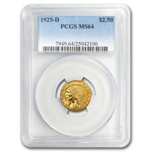 One $2.50 Indian Gold Quarter Eagle MS-64 NGC/PCGS (Random Year)