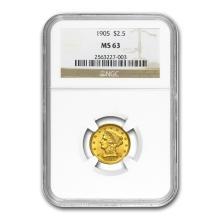 One $2.50 Liberty Gold Quarter Eagle MS-63 NGC/PCGS (Random Year)