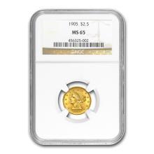 One $2.50 Liberty Gold Quarter Eagle MS-65 NGC/PCGS (Random Year)